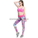 La compresión apta de Dri se divierte los pantalones de la yoga de Capris de la gimnasia del sujetador para las señoras