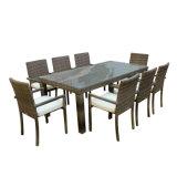 حديقة [دينّينغ] فناء [ويكر] أثاث لازم أسود خارجيّ كرسي تثبيت [رتّن] طاولة مجموعة