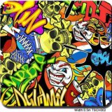 Tsautop 1m Wide Cartoon Clown Bomb PVA Hydrographicwater Transfert film d'impression pour Hydro Dipping