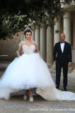 袖の花嫁の夜会服のテュルの薄く長いレースのふくらんでいるアラビアウェディングドレスG1705