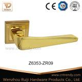 Het gouden Handvat van de Hefboom van de Deur van de Legering van het Zink van de Kleur Gestreepte op Rozet (Z6065-ZR30)