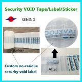 Etiket van de Garantie van de Veiligheid van de stamper het Zelfklevende Nietige Open; Anti-diefstal Etiket