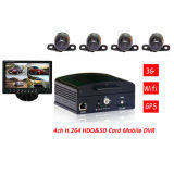 4channel Car Mobile DVR Recorder D1 com a caixa negra max 1t HDD&128GB SD Card Car SD Card Mobile DVR de Motion Detection Car