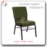 待っている椅子(JC-67)をスタックする装飾された空青いファブリック