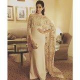 Vestido de noite longo E20168 do laço de Champagne do xaile do vestido formal árabe