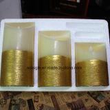 黄色いFlameless石蝋の卸売の白い蝋燭の灯心