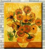 Peinture à l'huile peinte à la main pure des tournesols