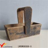 Cesta de armazenamento vintage vintage de madeira sólida europeia