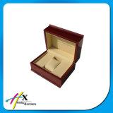Caixa de armazenamento de madeira lustrosa luxuosa do relógio do Logotipo-Costume de madeira vermelho do revestimento
