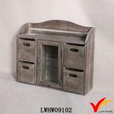 Vintage Farm Style 2 Tier Fir Madeira Gabinete de armazenamento de gaveta de mesa