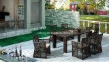 Tabela de jantar grande do PE-Rattan do retângulo do tamanho do jardim ao ar livre da alta qualidade com a cadeira pela pessoa 8-10 (YT605)