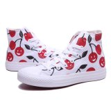 높은 Top Cheap Women White 또는 Red Cherry Print Canvas Shoes