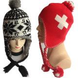 製造者のための2016の新しく暖かい円のコンピュータの二重層の十字のロゴのジャカード赤いEarflapの冬のジャカードによって編まれる帽子