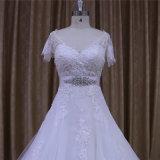 V a garganta uma linha luva do Short Appliques vestidos de casamento