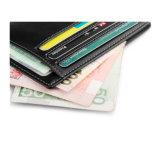 RFID die de Slanke Portefeuille van het Leer van Mens van de Houder van de Kaart van de Portefeuille Bank/ID blokkeert