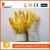 Gants Dcn303 de travail enduits par nitriles jaunes de la CE