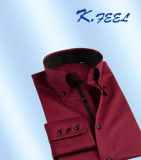 Camisa de algodón marrón con el collar del botón de la ciudad para el hombre
