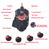 10 USB Wired Gaming Optical Mouse de Dpi Adjustable de los botones 4800 con Breathing LED