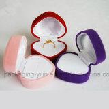 Rectángulo en forma de corazón del anillo del rectángulo del terciopelo de la boda del rectángulo de joyería