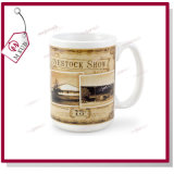 taza de café de cerámica promocional de la sublimación 15oz en blanco