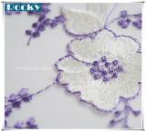 Tela de nylon do laço da flor por atacado bonita para o vestido das mulheres