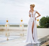 Beach Backless Bridal Dresses A - linha Lace Chiffon Wedding Gowns Z2069