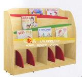 Estante de madera de la biblioteca de madera de los niños para la esquina