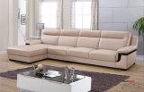 L sofà di cuoio reale di figura, mobilia del salone, sofà moderno (652)