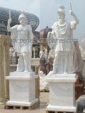 Cinzelando a estátua de mármore de pedra da escultura do guerreiro para a decoração do jardim (SY-X1690)