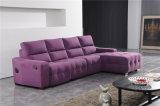 Wohnzimmer-Sofa mit dem modernen echtes Leder-Sofa eingestellt (415)