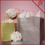 Bolsas de papel metálicas de Brown Kraft de los bolsos de compras de Kraft de la tinta