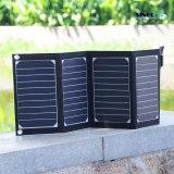 Carregador solar USB de dobramento de 2 portas de 20W com painel solar portátil dobrável de alta eficiência Tecnologia Powermax Iq para iPhone, iPad, iPod. Etc (FSC-20A)