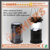 Luz solar portátil do diodo emissor de luz para acampar com USB (SH-1995)
