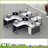 4 personne moderne L poste de travail de compartiment de bureau de forme