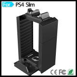 Torre destacável do armazenamento de disco do jogo do suporte com estação cobrando do controlador duplo da doca & suporte do carrinho do console para movimento magro PS3 de PS4 Playstation 4 PS4 o PRO picosegundo