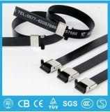 Serre-câble enduit d'acier inoxydable de PVC d'UL de RoHS de la CE de qualité