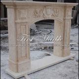 Cheminée en pierre de marbre Mfp-710 d'or de désert de cheminée de granit
