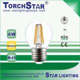 lámpara de filamento de cristal de 4W G45 LED