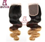 O melhor cabelo baixo de seda brasileiro humano não processado do Virgin da onda do corpo dos fechamentos