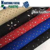 Prochaine matière première en cuir neuve de PVC avec la décoration de scintillement pour Madame Shoes