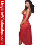 SPITZE-Ineinander greifenasymetrisches Babydoll-Nachtzeug-langes Kleid-Kleid der reizvollen Frauen Blumen