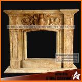 Cornija de lareira natural da chaminé de pedra da escultura da bordadura da chaminé