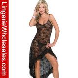 "Do Nightwear assimétrico floral do Babydoll do engranzamento do laço das mulheres ""sexy"" vestido longo do vestido"