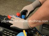 Guante hecho punto nilón del trabajo con la inmersión del nitrilo de Sandy (N1590)