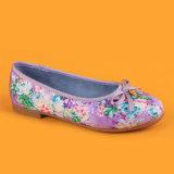 Zapatos púrpuras del partido de las bombas de los planos de las muchachas de los cabritos con Bowknot