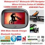 """새로운 공장은 4.3 """" 기관자전차 자전거 차 GPS 항해자 붙박이 66 채널 소형 GPS 의 주춤함 6.0, 800MHz Cortext-A7, Bluetooth, 토요일 Nav를 방수 처리한다"""