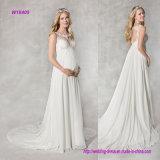 eine Reich-Zeile Delicated Illusion-wulstiges Blumenspitze-Ausschnitt-Hochzeits-Kleid für schwangere Damen