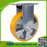 Rueda de aluminio resistente del echador del eslabón giratorio de la PU del amarillo de la base
