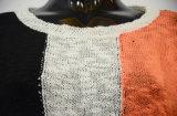 Pullover di colore di contrasto della traversa di modo delle donne