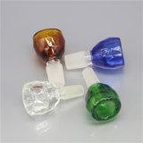 Tazones de fuente de cristal de cristal gruesos de los tazones de fuente de tubo de la venta al por mayor azulverde clara del color para los tubos con la junta masculina Bw-015 de 14m m y de 18.8m m